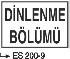 Kısımlar Levhası - Dinlenme Bölümü Es 200-9