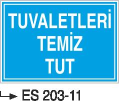 Kısımlar Levhası - Tuvaletleri Temiz Tut Es 203-11