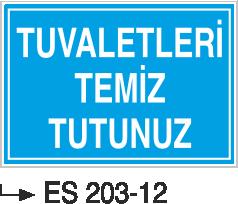 Kısımlar Levhası - Tuvaletleri Temiz Tutunuz Es 203-12