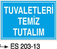 Kısımlar Levhası - Tuvaletleri Temiz Tutalım Es 203-13