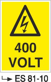 Voltaj Uyarı Levhaları - 400 Volt Es 81-10