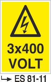 Voltaj Uyarı Levhaları - 3×400 Volt Es 81-11