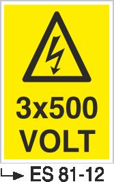 Voltaj Uyarı Levhaları - 3×500 Volt Es 81-12