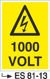 Voltaj Uyarı Levhaları - 1000 Volt Es 81-13