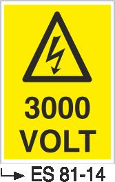 Voltaj Uyarı Levhaları - 3000 Volt Es 81-14
