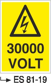 Voltaj Uyarı Levhaları - 30000 Volt Es 81-19