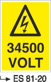 Voltaj Uyarı Levhaları - 34500 Volt Es 81-20