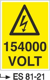 Voltaj Uyarı Levhaları - 154000 Volt Es 81-21