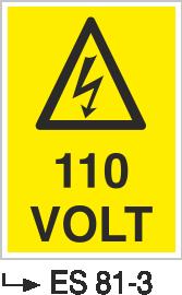 Voltaj Uyarı Levhaları - 110 Volt Es 81-3