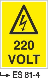 Voltaj Uyarı Levhaları - 220 Volt Es 81-4