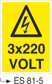 Voltaj Uyarı Levhaları - 3×220 Volt Es 81x5