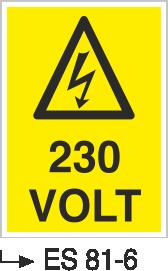 Voltaj Uyarı Levhaları - 230 Volt Es 81-6