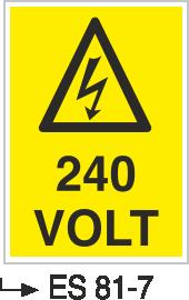 Voltaj Uyarı Levhaları - 240 Volt Es 81-7