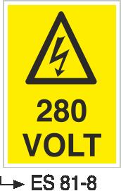 Voltaj Uyarı Levhaları - 280 Volt Es 81-8