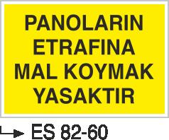 Elektrik Pano Levhaları - Panoların Etrafına Mal Koymak Yasaktır Es 82-60