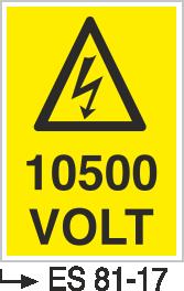 Voltaj Uyarı Levhaları - 10500 Volt Es 81-17