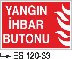 Fotolümenli Uyarı Levhaları - Yangın İhbar Butonu Es 120-33