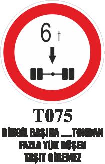 Trafik Tabelaları - Dingil Başına …. Tondan Fazla Düşen Taşıt Giremez T075