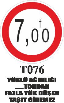 Trafik Tabelaları - Yüklü Ağırlığı …. Tondan Fazla Düşen Taşıt Giremez T076