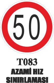 Trafik Tabelaları - Azami Hız Sınırlaması T083
