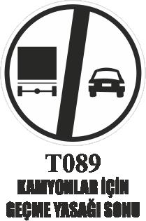 Trafik Tabelaları - Kamyonlar İçin Geçme Yasağının Sonu T089