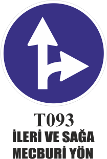 Trafik Tabelaları - İleri Ve Sağa Mecburi Yön T093