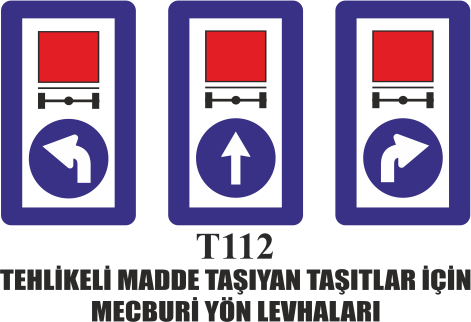 Trafik Tabelaları - Tehlikeli Madde Taşıyan Taşıtlar İçin Mecburi Yön Levhaları T112
