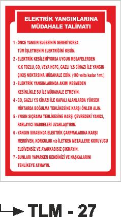 Talimatlar - Elektrik Yangınlarına Müdahale Talimatı Tlm-27