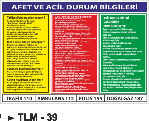 Talimatlar - Afet Ve Acil Durum Bilgileri Tlm-39